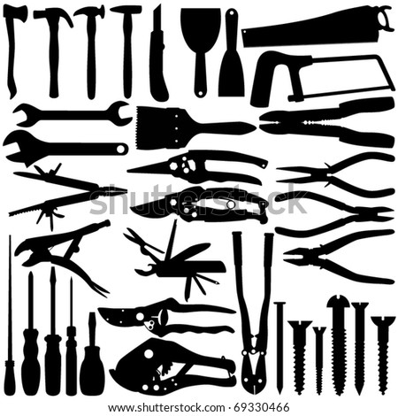 Cute Silhouettes vector Icons collection as design elements, a set of Construction Equipments, working Tools  isolated on white - stock vector