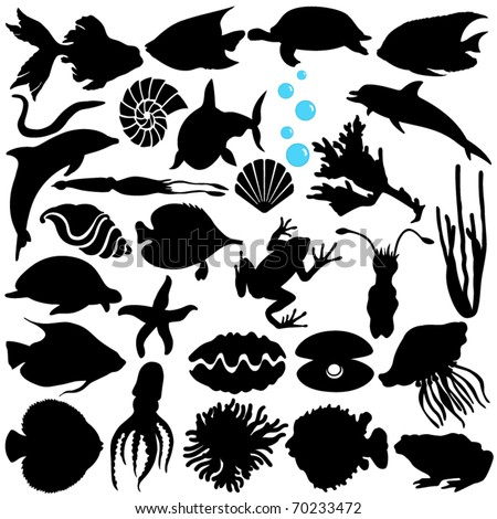 Cute Silhouettes vector Icons collection as design elements, a set of Fish, Sealife, Marine life, seafood isolated on white - stock vector