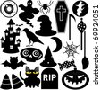 Cute Silhouettes vector Icons collection as design elements, a set of Halloween Festival Theme with ghost, pumpkin, coffin, haunted house - stock vector