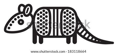 Cute simple black and white armadillo - stock vector