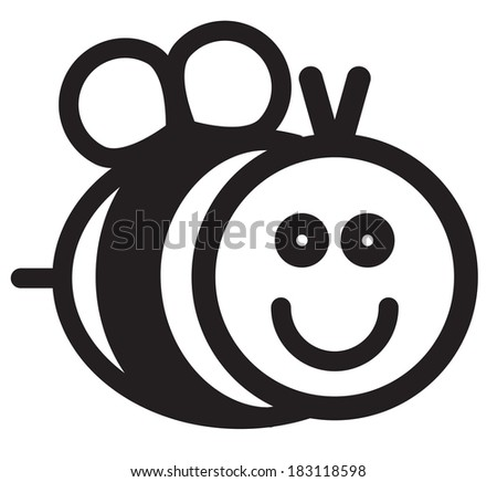Cute simple black and white bee - stock vector