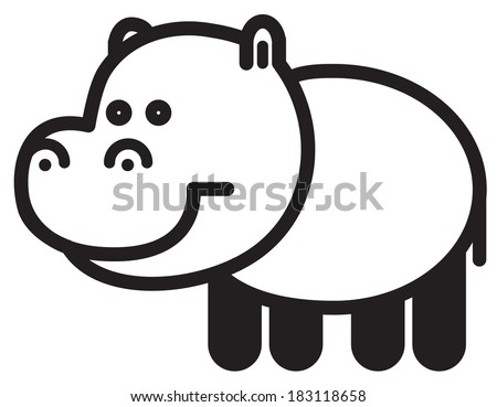 Cute simple black and white  hippopotamus - stock vector