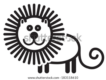 Cute simple black and white lion - stock vector