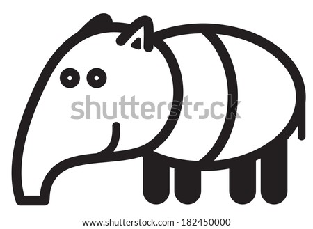 Cute simple black and white tapir for icon - stock vector