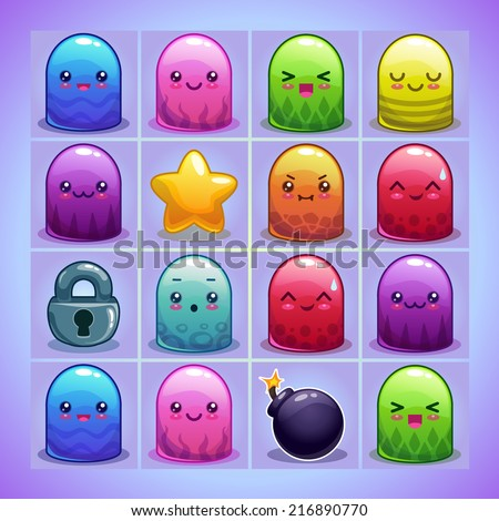 Cute simple characters and elements for game on the blue game board - stock vector