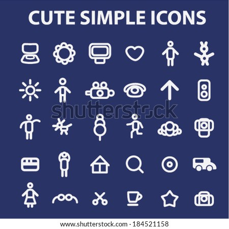 cute simple doodle website icons set, vector