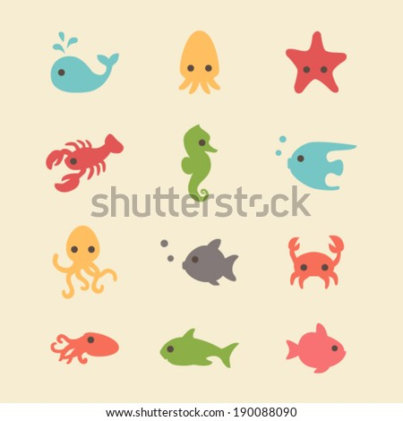 Cute simple sea creatures - stock vector
