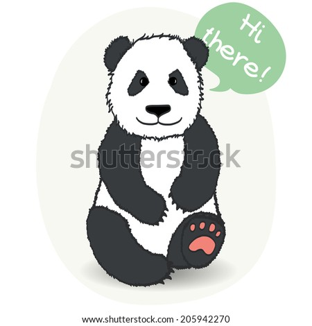 Cute sitting hand drawn panda with speech bubble for the text. - stock vector