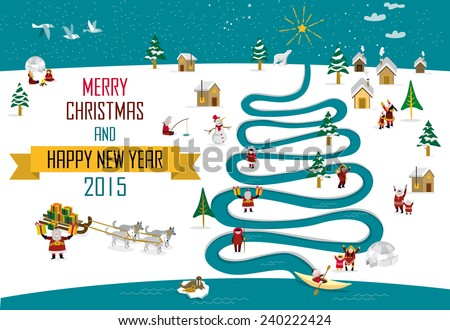 Cute skimos characters celebrating Christmas and New Year holidays in a snowy landscape with a river in tree form. - stock vector