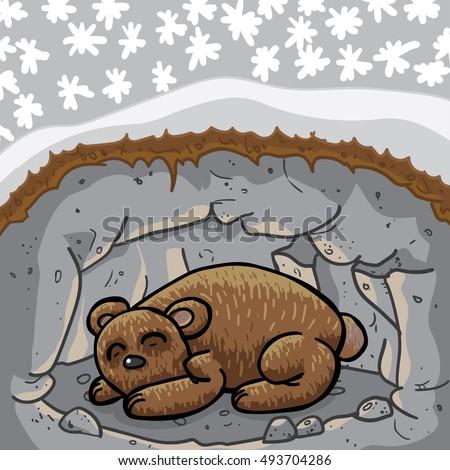 cute sleeping bear lair cave season stock vector 493704286. Black Bedroom Furniture Sets. Home Design Ideas