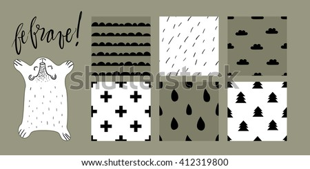 "Cute sleeping bear vector illustration with six scandinavian style pattern tiles. Mountains, wool, clouds, crosses, raindrops and fir trees textures. Hand written lettering ""be brave""."