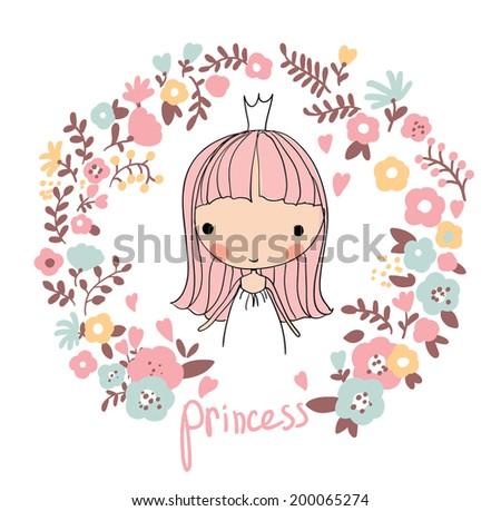 Cute small princess. Childish vector card in beautiful flowers.  - stock vector