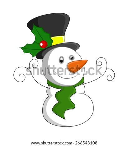 Cute Small Snowman Smiling - stock vector