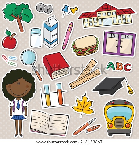Cute smart African-American school girl with tools and objects