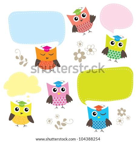 Cute Smart Owl Characters - stock vector