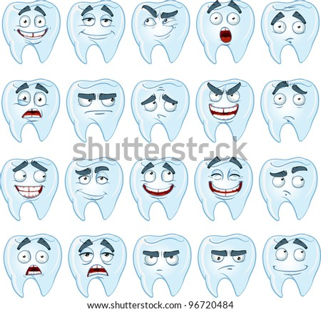 cute smile healthy teeth with different emotions - stock vector