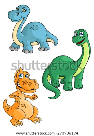 Cute smiling cartoon dinosaurs characters with orange tyrannosaurus, blue and green brontosauruses isolated on white background for sport team mascot design - stock vector