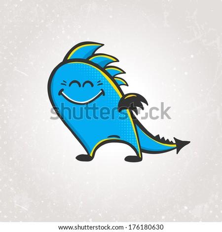 Cute smiling dragon. Vector illustration EPS 10. - stock vector