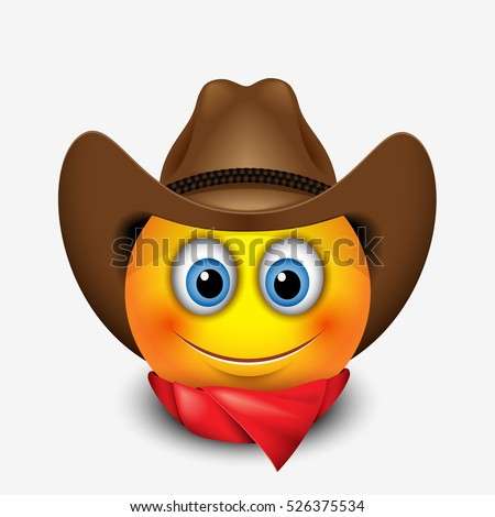 Cute smiling emoticon wearing cowboy hat, emoji, smiley - vector illustration