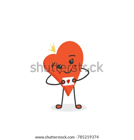 Cute smiling heart cartoon character in crown holding love letter. Vector hand drawn illustration.