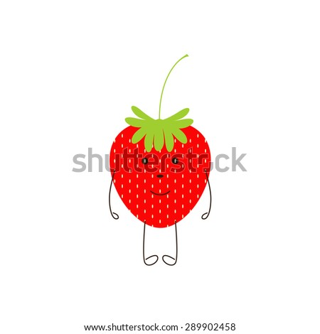 Cute smiling strawberry character isolated on white background. Logo template, design element, vegetarian menu decoration. Flat style illustration - stock vector