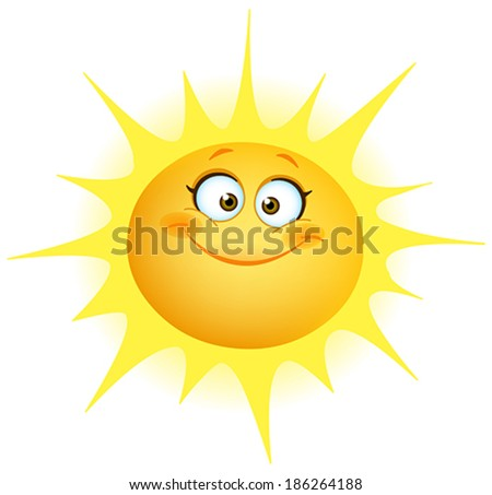 Cute smiling sun - stock vector