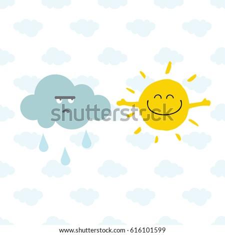 Cute Smiling Sun Rainy Cloud On Stock Vector 616101599 ...