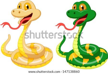 Cute snake cartoon - stock vector