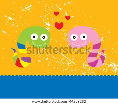 cute snake couple greeting - stock vector