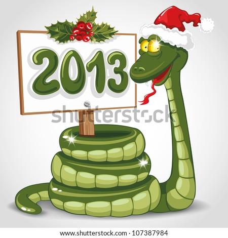 Cute snake (symbol of 2013 year) in Santa's hat. Vector illustration. - stock vector