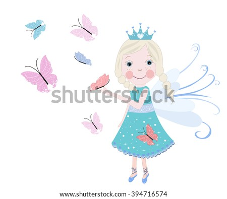 Cute snow fairytale with butterflies. Spring time vector background - stock vector