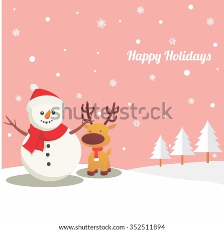 Cute Snowman and Cute Reindeer in Winter with Frozen Pine Tree - stock vector