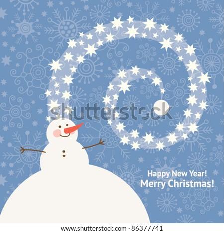 cute snowman , christmas greeting card - stock vector