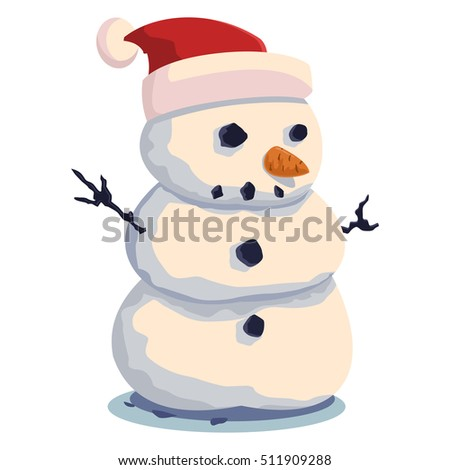 Cute snowman vector cartoon illustration on a white background.