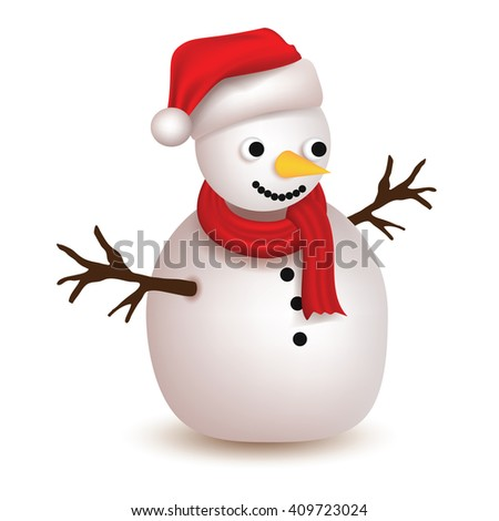 Cute Snowman with Christmas hat