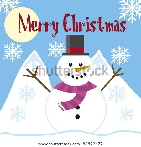 cute snowman with landscape with snowflakes background. vector - stock vector