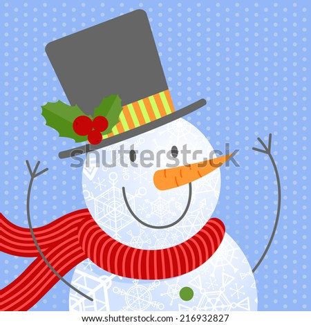 Cute snowmen portrait. Vector illustrations.
