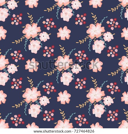 Cute Soft Floral Seamless Pattern Abstract Flowers Vector Background For Textile Or Book Covers