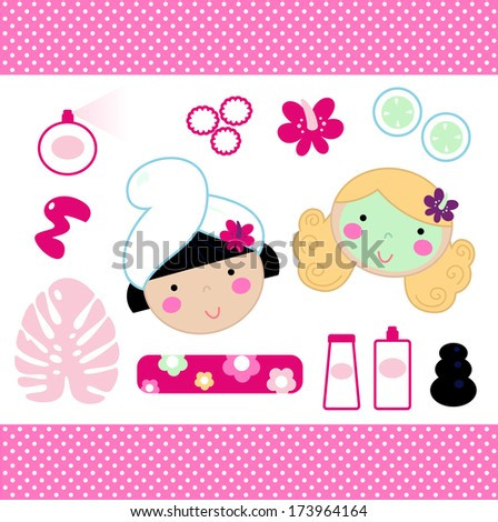 Cute spa set elements with beautiful girls ( pink ) - stock vector