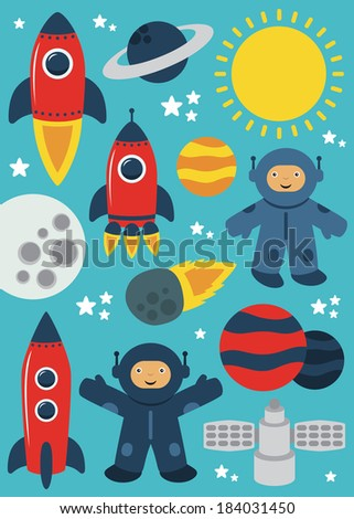 cute space objects set. vector illustration