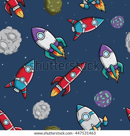 Cute spaceship seamless pattern with star and asteroid