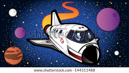 Cute Spaceshuttle Illustration - Graphic elements to embellish your layout. Vector file editable, scalable and easy color change. You can use the background or isolated elements. - stock vector