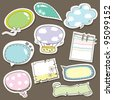 Cute speech bubbles scrapbook elements in vector - stock vector