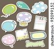 Cute speech bubbles scrapbook elements in vector - stock vector