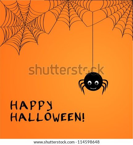 Cute spider and webs over orange background with Happy Halloween text - stock vector
