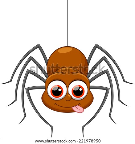 Cute spider cartoon - stock vector