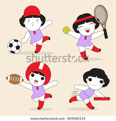 Cute Sport Girls Cartoon Character illustration set - stock vector