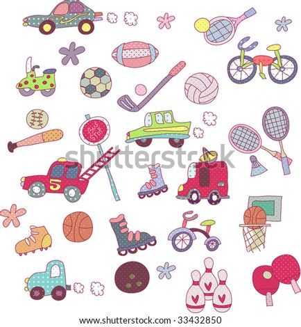 cute sports icons set - stock vector