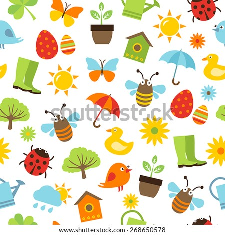 Cute spring background - seamless pattern with icons representing spring activities, nature and freshness. - stock vector