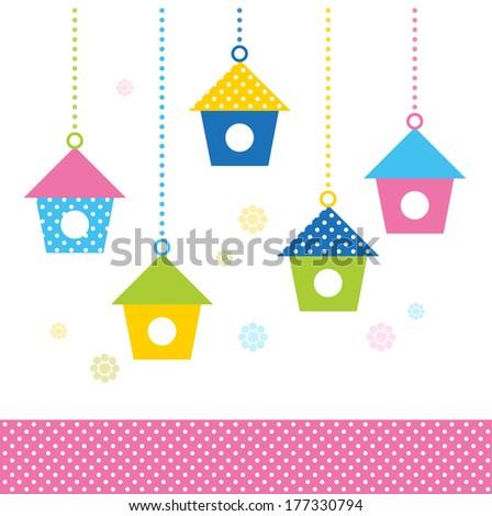 Cute spring colorful Bird houses set ( vector )  - stock vector